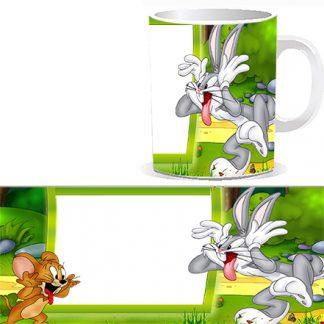 Чашка детская с персонажами Диснеевских мультиком - мышонком Джерри и кроликом Бакс Бани