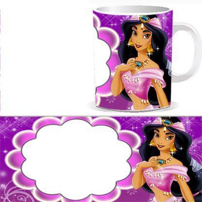 Чашка детская Вашей фотографией, фотографией поздравляемого ребенка и принцесса Жасмин, персонажем мультика Аладдин