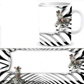 Чашка детская со сказочной зеброй и Вашей фотографией, фотографией поздравляемого ребенка или семейной фотографией